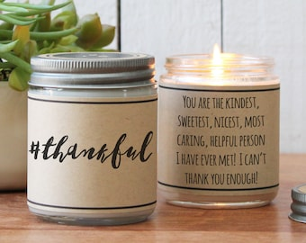Hashtag Thankful Candle Gift | Thank You Gift | Appreciation Gift | Thanksgiving Gift | Thankful Gift | Teacher Aide Gift | Teacher Gift