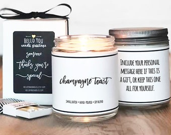Champagne Toast Scented Candle | Candle Gift | Unique Scented Candle | Celebration Gift | Personalized Candle | Cheers Gift