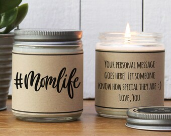 Hashtag Momlife Soy Candle | New Mom Gift | Mother's Day Gift | Personalized Gift for Mom | Baby Shower Gift | Mom to be gift