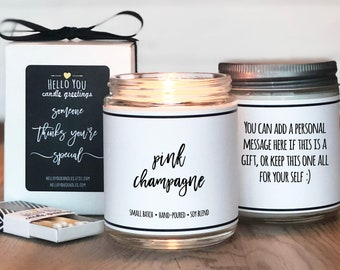 Pink Champagne Scented Candle | Candle Gift | Unique Scented Candle | Celebration Gift | Personalized Candle | Cheers Gift