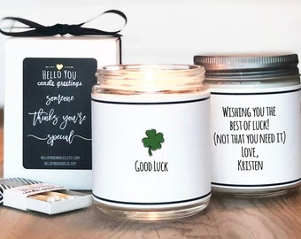 Good Luck Candle   Good Luck Gift   Good Luck Card   Best Wishes Gift   Moving Gift   Promotion Gift   Coworker Gift   Four Leaf Clover Gift