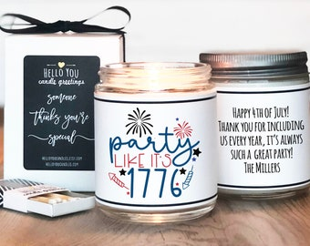 4th of July Hostess Gift   Party Like It's 1776 Candle   4th of July Candle   Independence Day Gift   Indipendence Day Candle