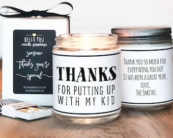 Teacher Gift For Teacher   Teacher Appreciation Gift   Babysitter Gift   Preschool Teacher Gift   Thanks For Putting Up With My Kid Candle
