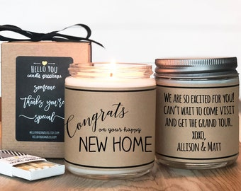 Congrats on your Happy New Home Candle Gift - Scented Soy Candle Greeting - Housewarming Gift   Moving Gift   New Home Gift   Hostess Gift