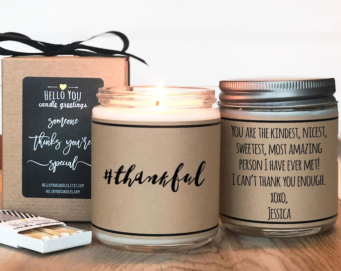 Featured listing image: Hashtag Thankful Candle Gift | Thank You Gift | Appreciation Gift | Thanksgiving Gift | Thankful Gift | Teacher Aide Gift | Teacher Gift