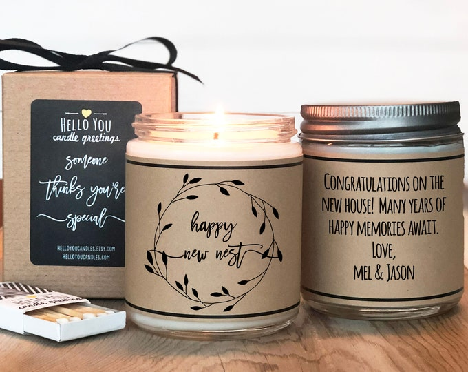Featured listing image: Happy New Nest Personalized Candle Gift - Housewarming Gift | New Home Gift | Moving Gift | First Home Gift | Our First Home | Wedding Gift