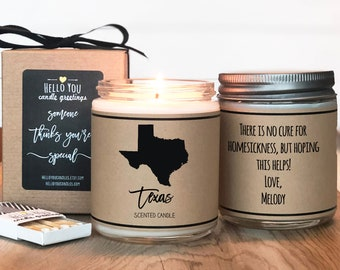 Texas Scented Candle - Homesick Gift | State Scented Candle | Moving Gift | College Student Gift | State Candles | Homesick Candle