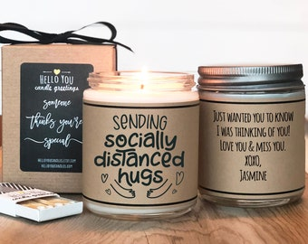 Social Distancing Gift   Sending Socially Distanced Hugs Candle   Quarantine Gift   Pandemic Gift   Socially Distant Gift  