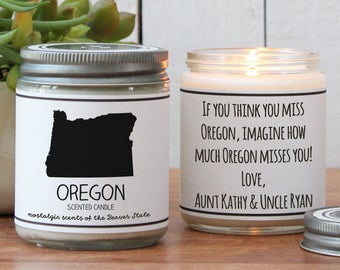 Oregon Scented Candle - Homesick Gift | Feeling Homesick | State Scented Candle | Moving Gift | College Student Gift | State Candles