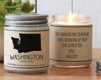 Washington Scented Candle - Homesick Gift | Feeling Homesick | State Scented Candle | Moving Gift | College Student Gift | State Candles