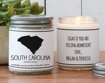 South Carolina Scented Candle - Homesick Gift | Feeling Homesick | State Scented Candle | Moving Gift | College Student Gift | State Candles