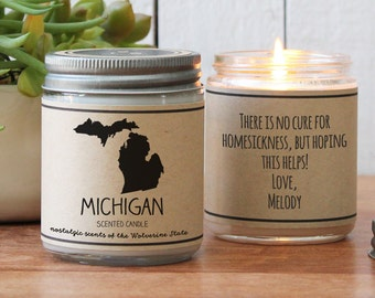 Michigan Scented Candle - Homesick Gift | Feeling Homesick | State Scented Candle | Moving Gift | College Student Gift | State Candles