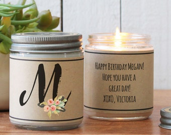 Monogram Gift   Scented Soy Candle Gift   Monogram Candle   Best Friend Gift   Sister Gift   Gift for Mom   Gift for Her   Bridesmaid Gift
