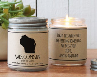 Wisconsin Scented Candle - Homesick Gift | Feeling Homesick | State Scented Candle | Moving Gift | College Student Gift | State Candles