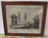 doe hut and its fawn in the garden of plants drawn after nature by Huet Huet 1822, engraving, print, framed period glass