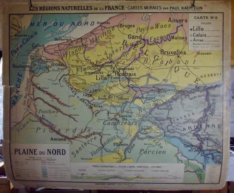 Old school map Hatier Paul Kaeppelin Regions natural Lille | Etsy