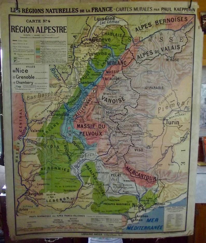 Old school map Hatier Paul Kaeppelin Regions Alpine Vanoise | Etsy