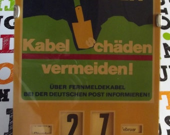 Old calendar perpetual Beierd - work, cable Chadenvermeiden! Vintage advertising and perpetual calendar 1970's shabby chic