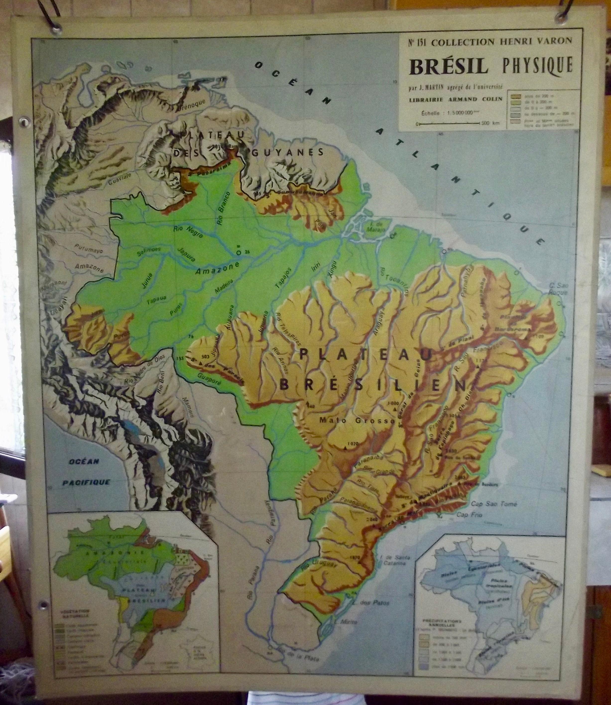 Old school map 151 Collection Henri Varon Brazil Armand Colin Guyana  Amazonian Brazilian Plateau Sao Paulo Rio de Janeiro Recife
