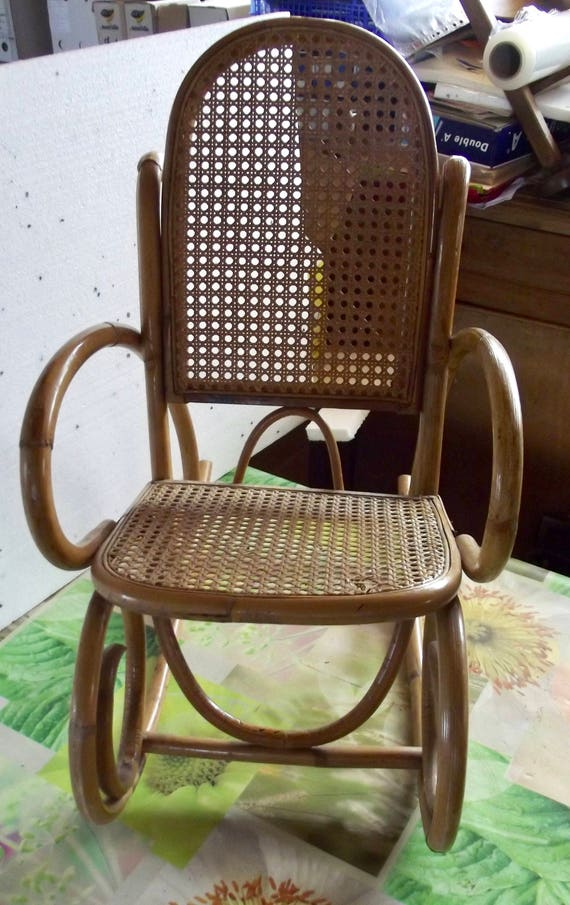 Cool Old Child Rattan Caning Rocking Chair Vintage Wood Curve Scandinavian 1970 Rocking Chair Suitable For Children 2 To 6 Years Gmtry Best Dining Table And Chair Ideas Images Gmtryco