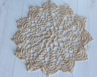 Large and antique crocheted doily, vintage.