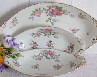 Set of 3 dishes in Limoges porcelain. The 30's. France.