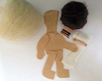 Cloth doll Waldorf doll 35 cm to make diy material organic wool