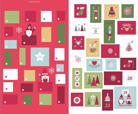 Scandinavian Hygge Christmas cotton panel for Advent Calendar