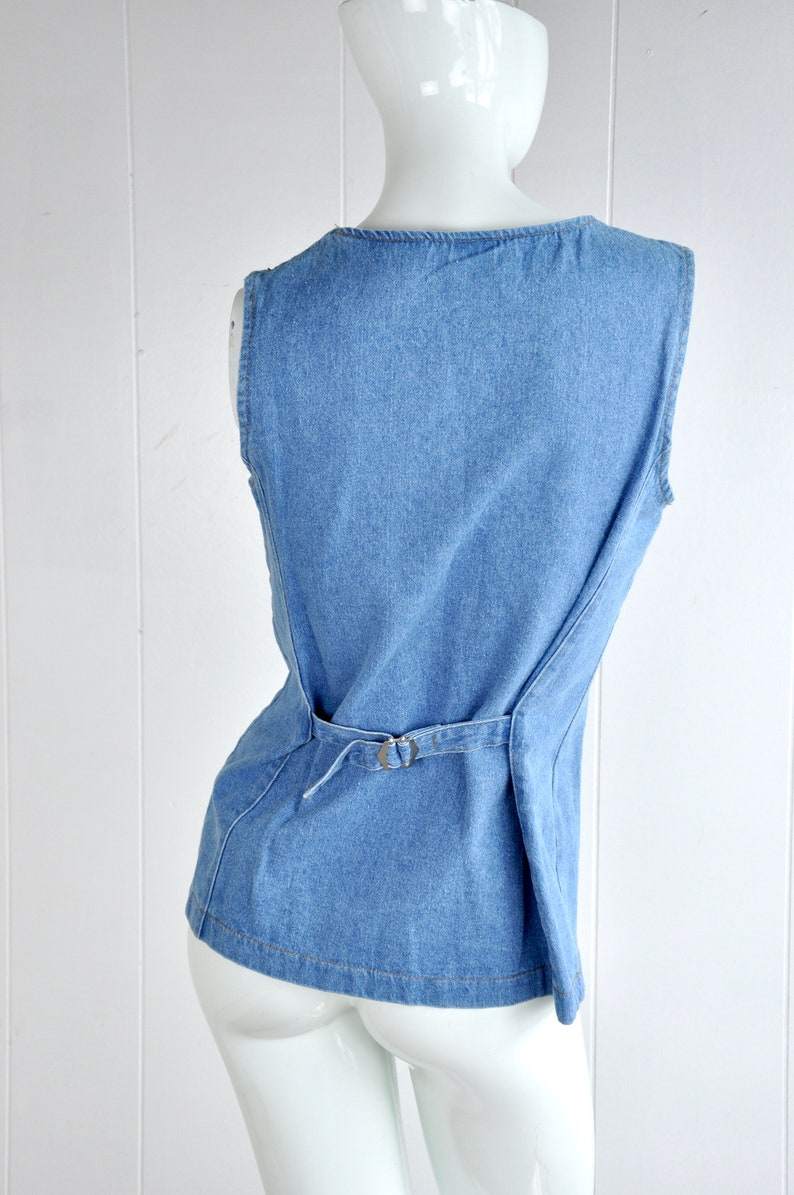 Made in USA 70s 80s Fredericks of Hollywood Long Denim Vest Size S Western Rockabilly Disco Hippy Woodstock 60s Style Unisex Vest Jacket