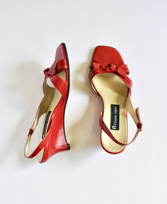 90s BOMBSHELL Red Leather Square Toe Bow-tie Wedg… - image 1