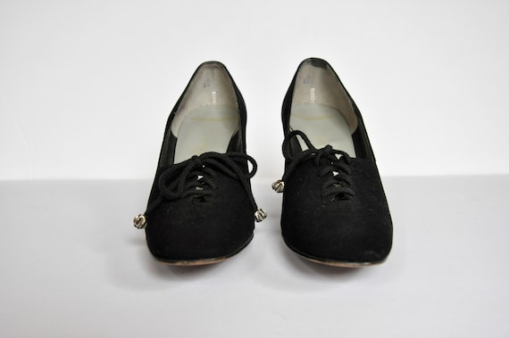 40s 50s Black Leather Lace-up Heels, Women's Size… - image 3