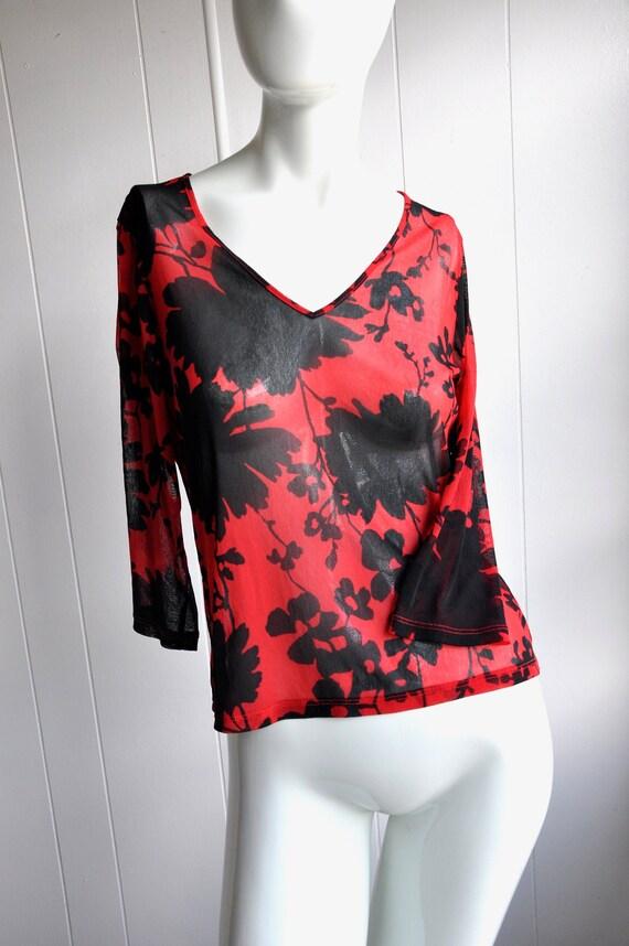 90s Y2K Sheer Mesh Top, Red & Black, Size S/M, Sex