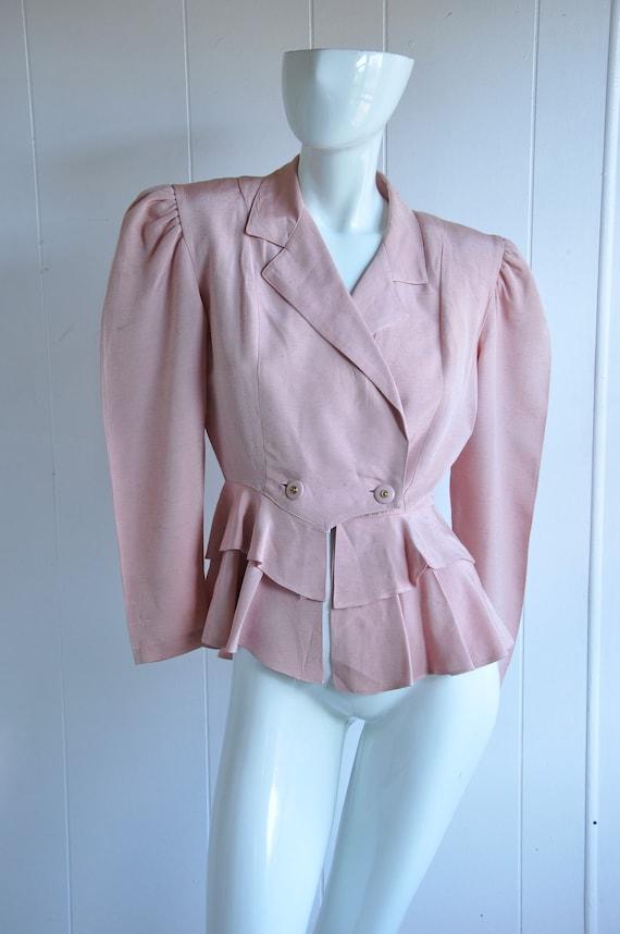 70s 40s Dusty Rose Pink Peplum Blouse, Size XS Sma