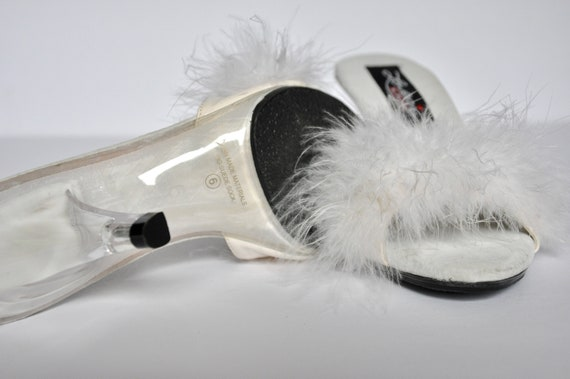 90s White Marabou Feather and Lucite Plastic Heel… - image 6
