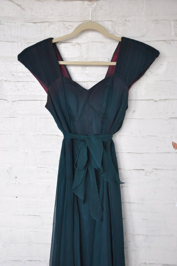 70s Does 40s 50s Dark Forest Green Evening Dress w