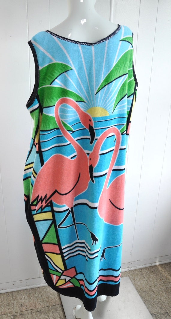 80s Terrycloth PINK FLAMINGO Dress, XXL Plus Size… - image 2