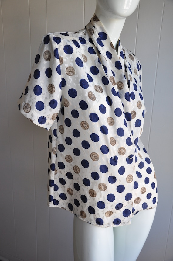 80s Polka Dot Blouse, Nautical Navy Blue and Gold