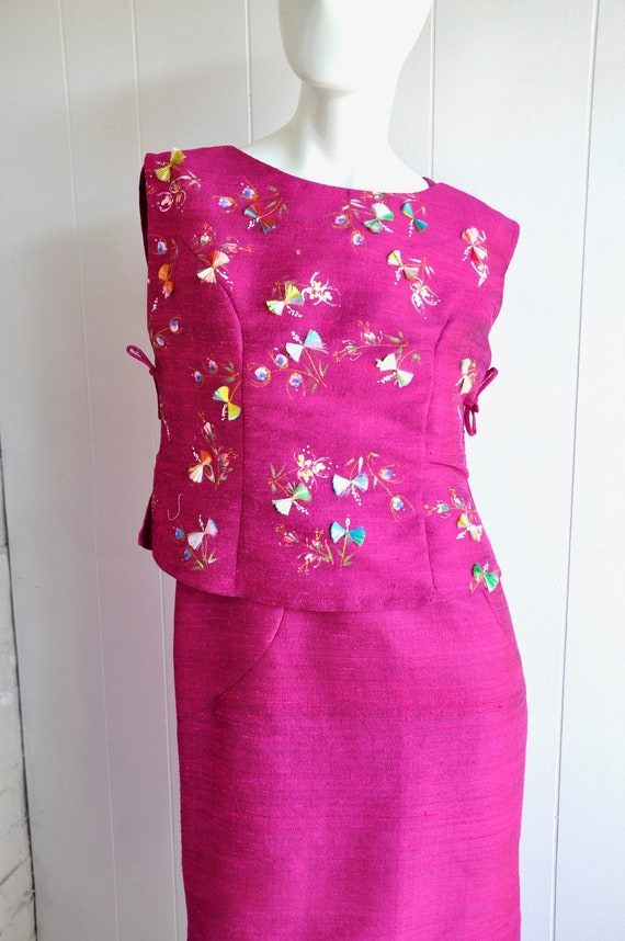 60s Hot Pink Japanese House Dress, 3-Piece Dress … - image 5