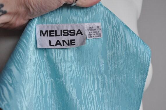 80s Shimmery Mermaid Blue Dress, Melissa Lane, Si… - image 8