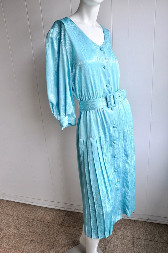 80s Shimmery Mermaid Blue Dress, Melissa Lane, Si… - image 3