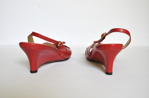 90s BOMBSHELL Red Leather Square Toe Bow-tie Wedg… - image 7