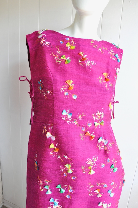 60s Hot Pink Japanese House Dress, 3-Piece Dress … - image 10
