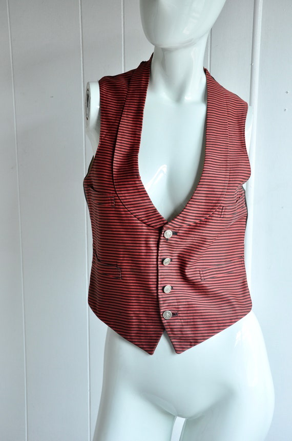 20s 30s Red & Black Striped Usher Vest, Train Cond
