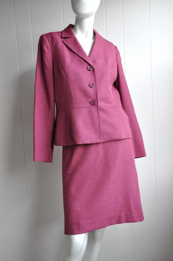 90s Raspberry Pink Skirt Suit, Size 8 Waist 30, Cl