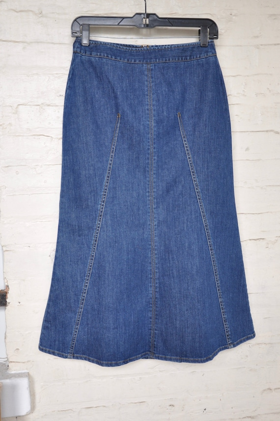 newest style of favorable price latest style of 2019 Vintage Fit and Flare Denim Skirt by Talbots, Size 4 Small,  Mermaid/1990s/Knee Length/Western/Rockabilly/Dolly Parton/Jean Skirt