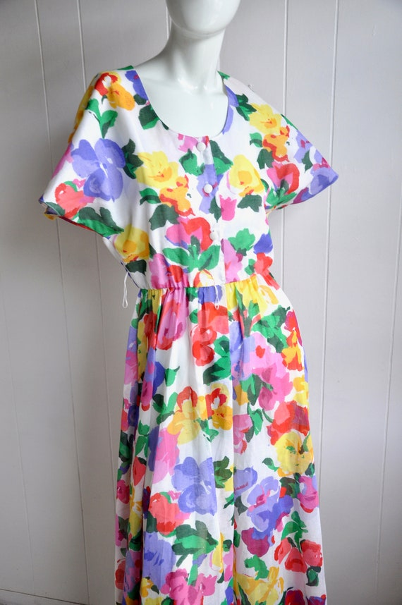Rainbow Flower Dress, Vintage Size 6/Small, Water… - image 2