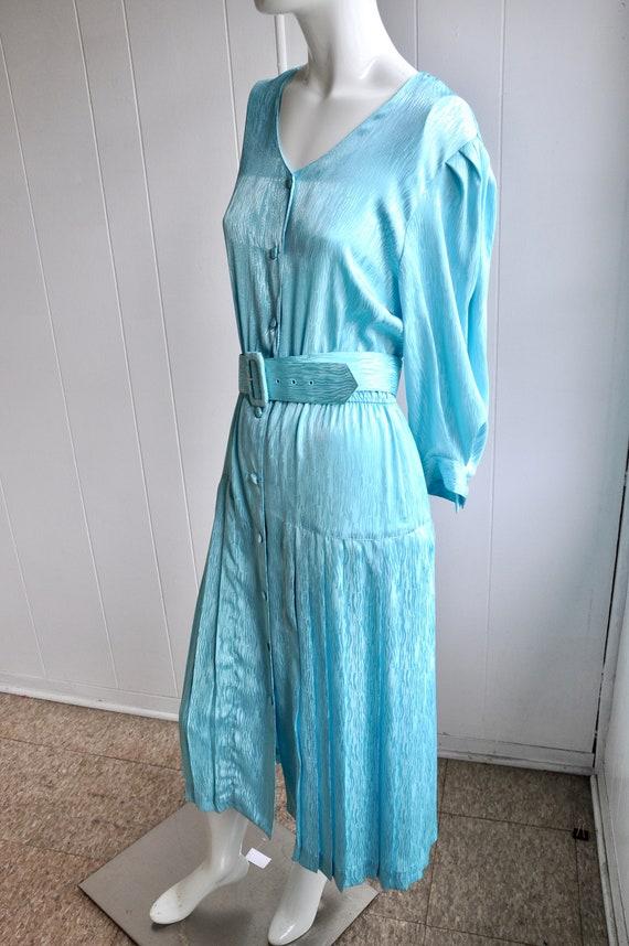 80s Shimmery Mermaid Blue Dress, Melissa Lane, Si… - image 4
