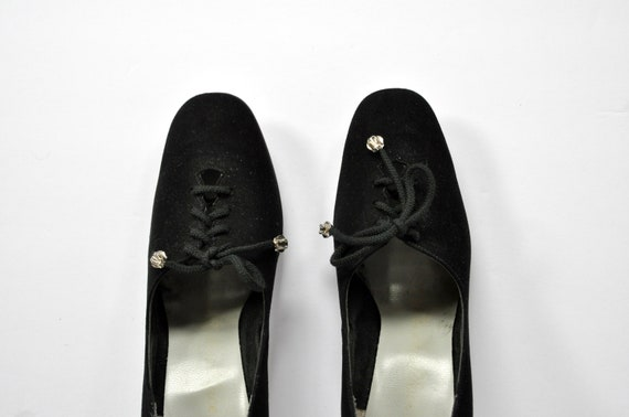 40s 50s Black Leather Lace-up Heels, Women's Size… - image 1