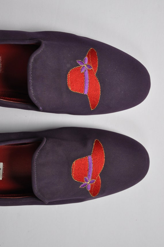 Red Hat Society Purple Vegan Suede Slides/Loafers,