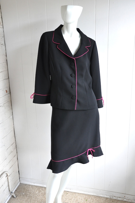 90s Legally Blond Black and Hot Pink Skirt Suit, C